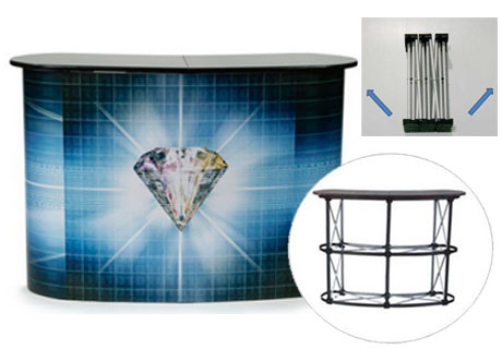 Aluminum curve shape Pop-up Promotion Table with black countertop