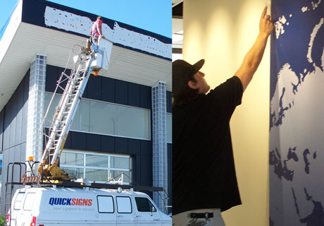 Our bucket lift truck is good for any sign installation job that you may have